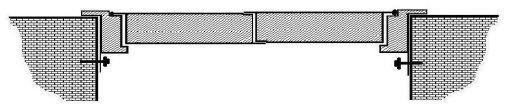 Крепление  блока двустворчатого противопожарного люка с наличником